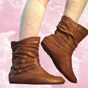 Cute Faux Leather Boots by Forever 21